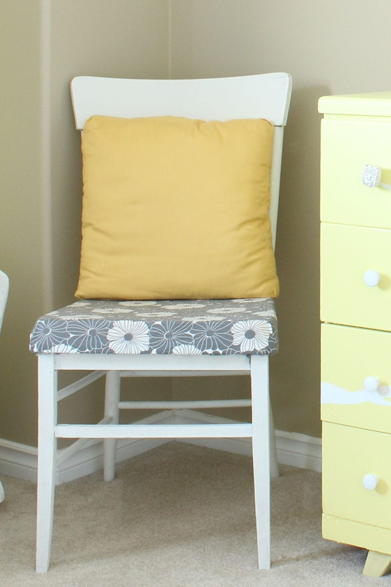 Nothing more beautiful than antique painted furniture - as illustrated by this grey and white chair with a modern vibe.