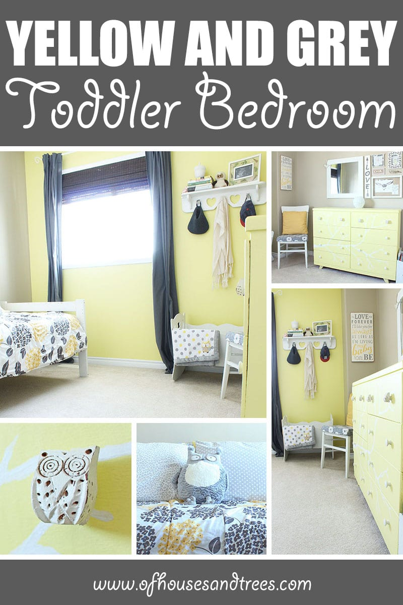 Yellow Toddler Bedroom | Welcome to our yellow toddler bedroom. Featuring grey and white accents and an owl motif. This room is a super happy fun place for a cute and quirky kid!