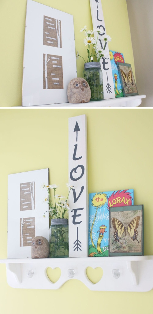 Poetry art using text from The Lorax displayed on a shelf.
