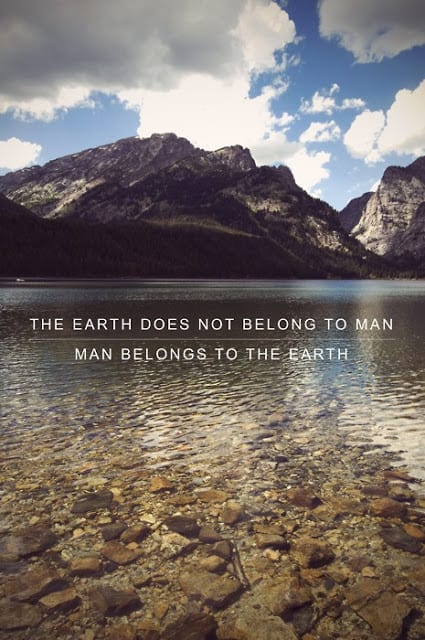 """Sustainability Quotes: """"The earth does not belong to man. Man belongs to the earth."""""""