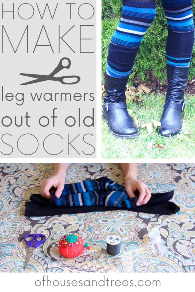 DIY leg warmers made out of old socks. Cut two pairs of socks into sections, flip inside out and sew!