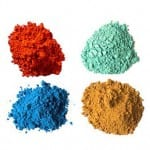 Eco-friendly craft supplies - all-natural craft paint in red, green, blue and orange.