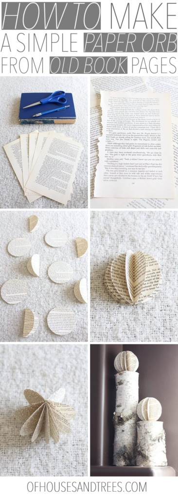 How to make a simple paper orb from old book pages. Supplies needed for making a paper orb from old book pages - an old book, a pencil, scissors, glue, plus something circular shaped for tracing.