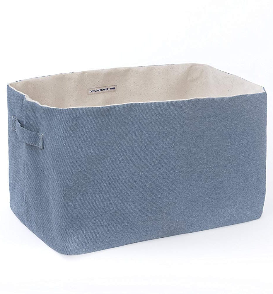 An eco-friendly kid's room is the perfect place to incorporate items made from recycled and reclaimed materials - like this storage basket made from recycled denim!