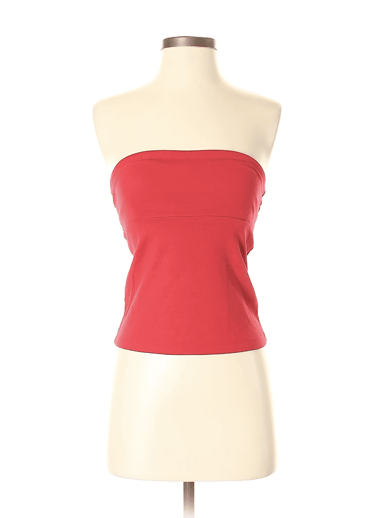 Create customized second hand Halloween costumes with items you can add to your regular wardrobe and wear again! Like this red tube top, which would be perfect for a superhero costume.