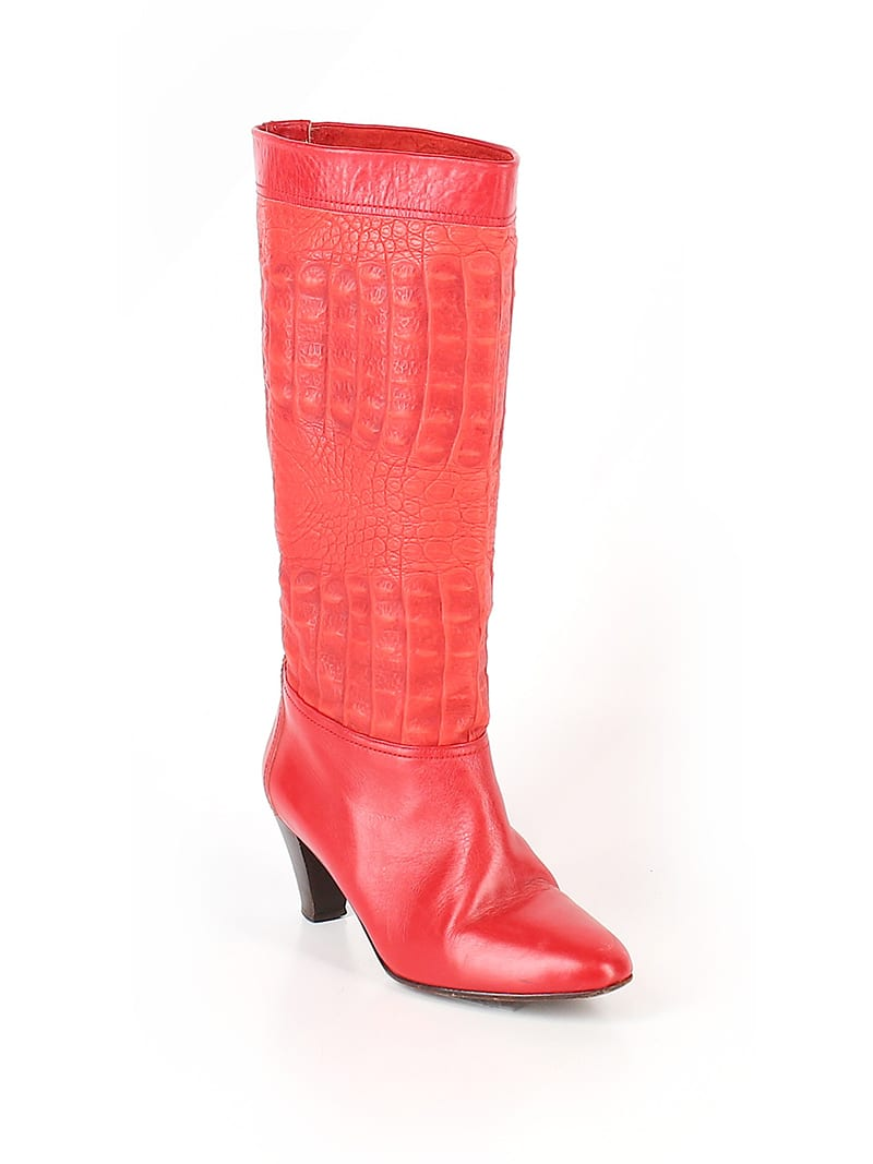 Create customized second hand Halloween costumes with items you can add to your regular wardrobe and wear again! Like these red boots, which would be perfect for a superhero costume.