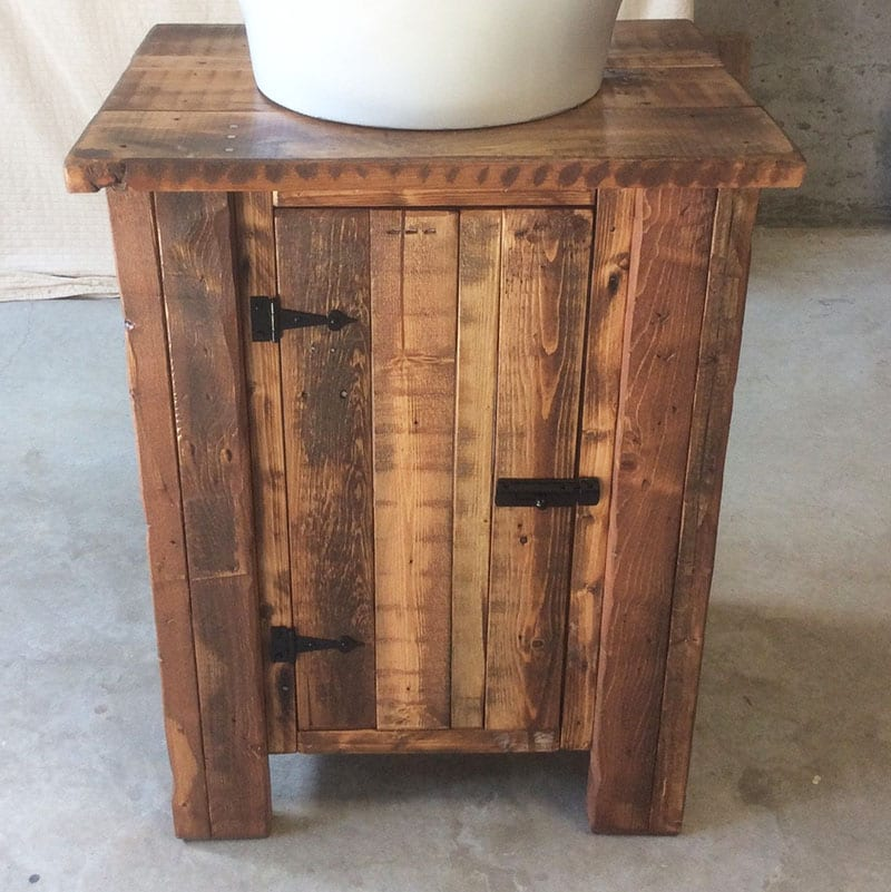 "Looking to create an eco-friendly bathroom? It's the perfect opportunity to green everything - including your tub, sink, faucet, vanity and toilet! A vanity made from reclaimed wood is one way to put the ""recycle"" in ""reduce, reuse, recycle!"""
