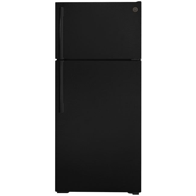 "What's an eco-conscious kitchen without an energy efficient fridge? This 28"" top freezer refrigerator by GE uses 436 kwH/yr."
