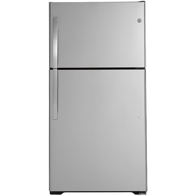 "What's an eco-conscious kitchen without an energy efficient fridge? This 33"" top freezer refrigerator by GE uses 489 kwH/yr."