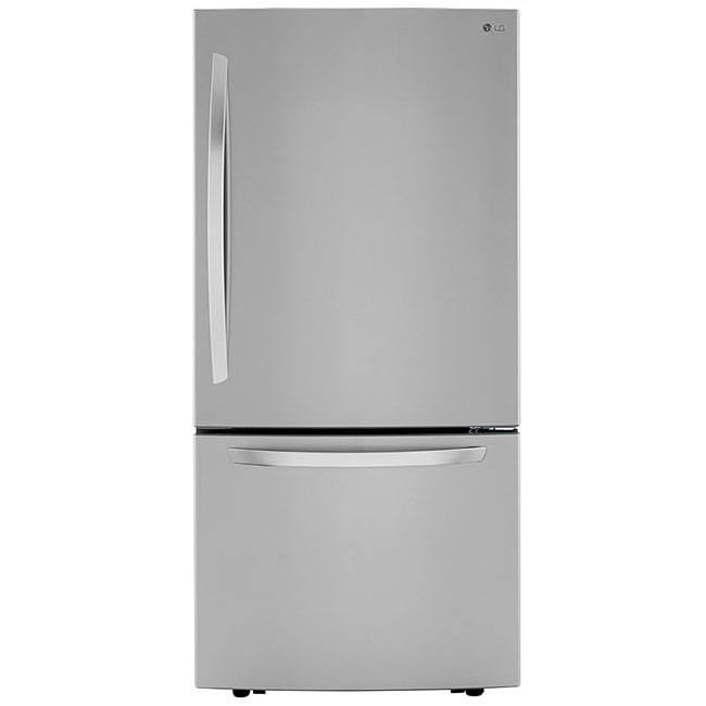 "What's an eco-conscious kitchen without an energy efficient fridge? This 33"" bottom freezer refrigerator by LG uses 562 kwH/yr."