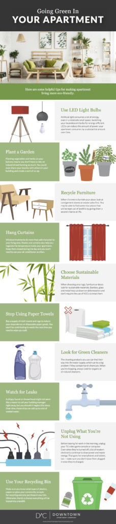 Greening an apartment isn't all that different from greening a house. In fact, since an apartment is often a smaller space - it can be even easier! This infographic by Downtown Apartment Company provides helpful and simple eco-friendly apartment ideas.