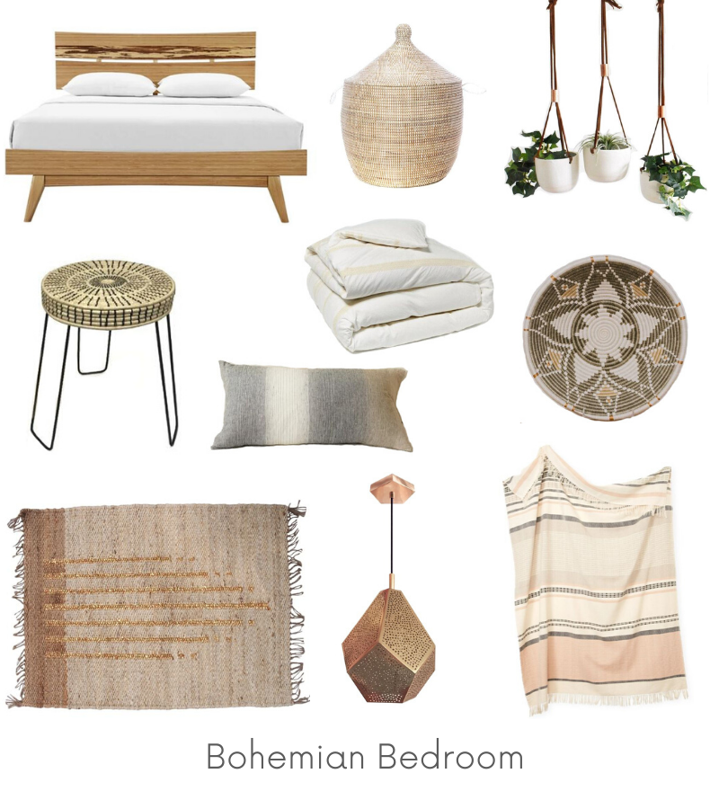 Bohemian Bedroom Design Board Example - Of Houses and Trees E-Design.