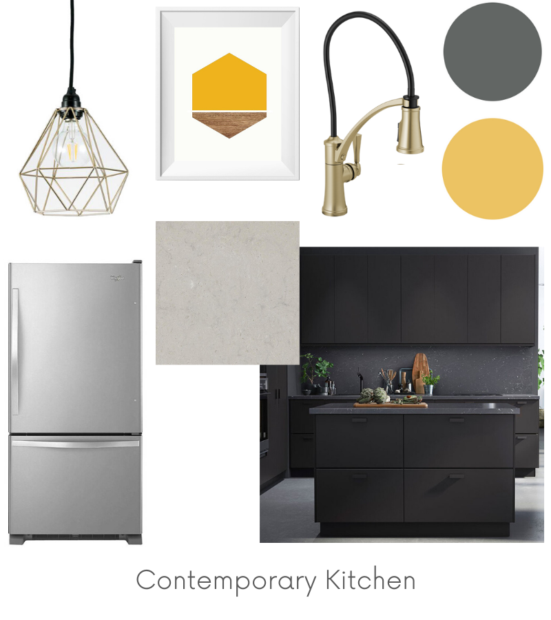 Contemporary Kitchen Design Board Example - Of Houses and Trees E-Design.
