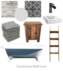 Farmhouse Bathroom Design Board Example - Of Houses and Trees E-Design.