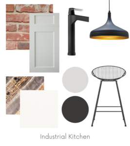 Industrial Kitchen Design Board Example - Of Houses and Trees E-Design.