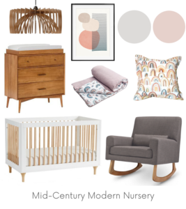 Mid-Century Modern Nursery Design Board Example - Of Houses and Trees E-Design.