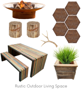 Rustic Outdoor Living Space Design Board Example - Of Houses and Trees E-Design.