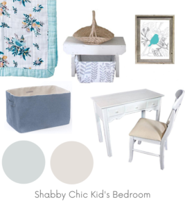 Shabby Chic Kid's Bedroom Design Board Example - Of Houses and Trees E-Design.