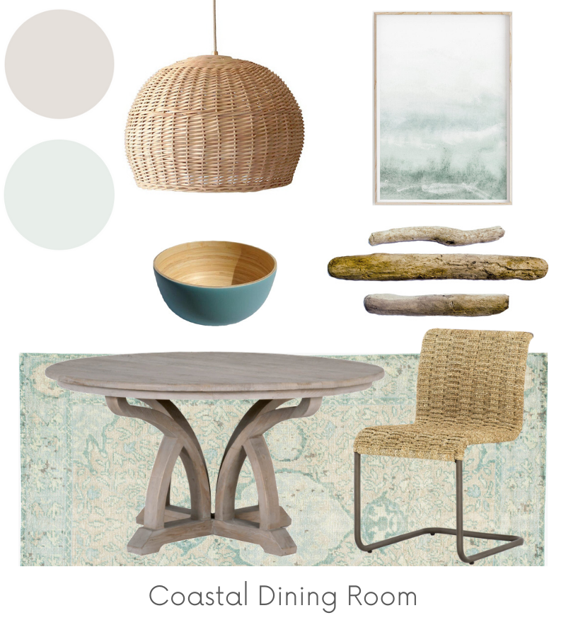 Coastal Dining Room Design Board Example - Of Houses and Trees E-Design.