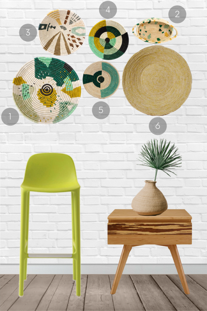 Want to incorporate woven basket wall decor into your minimalist home? Select baskets in a variety of sizes, shapes and colours. For a more unified - but still casual look, choose one or two reoccurring colours - like green and beige.