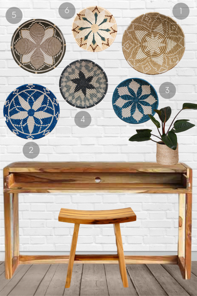 Want to incorporate woven basket wall decor into your coastal home? Select baskets in shades of sand-coloured beige and sea-coloured blue. Choose patterns that swoop, swirl and are reminiscent of starfish.