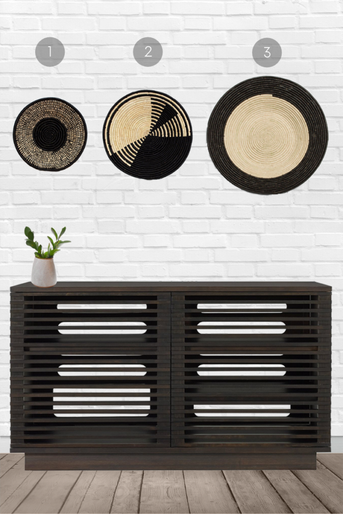 Want to incorporate woven basket wall decor into your minimalist home? Select baskets in black and off-white and arrange them in a spaced out, symmetrical layout. Striking!