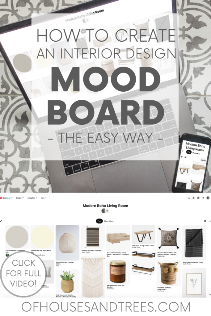 Learn the easiest way to create a mood board for interior design, using something you likely already have - a Pinterest account!