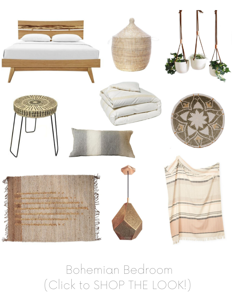 Bohemian Bedroom Design Board Example - Of Houses and Trees E-Design. Click to SHOP THE LOOK!