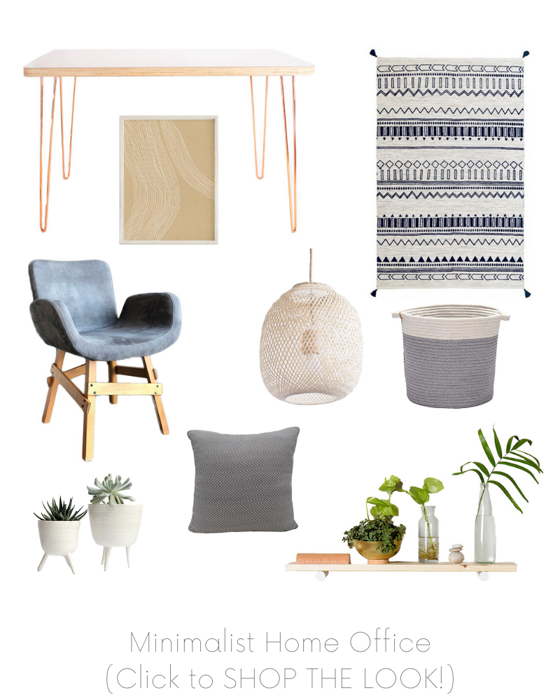 Minimalist Home Office Design Board Example - Of Houses and Trees E-Design. Click to SHOP THE LOOK!